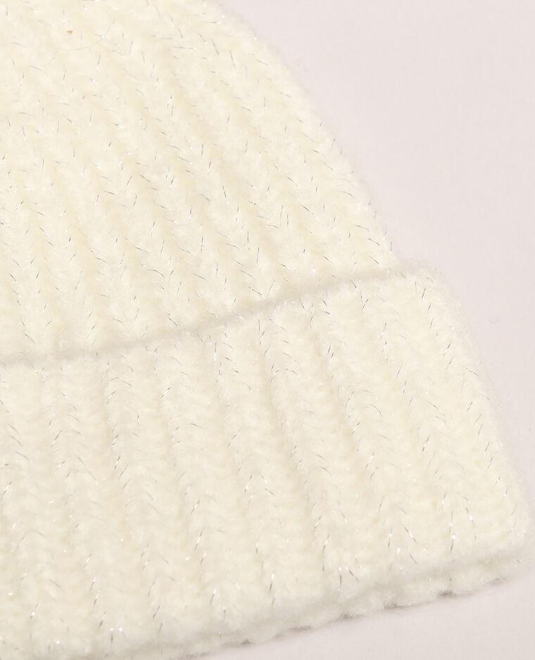Bonnet à côtes blanc cassé