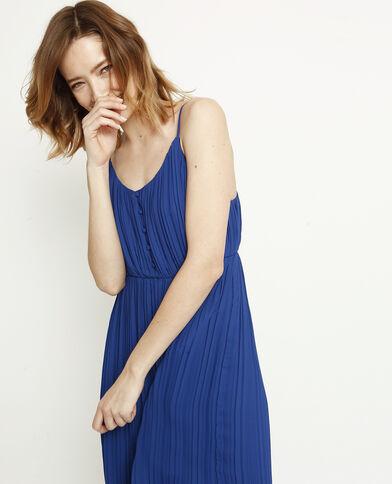 ac126badc6dc Robe longue plissée bleu brut