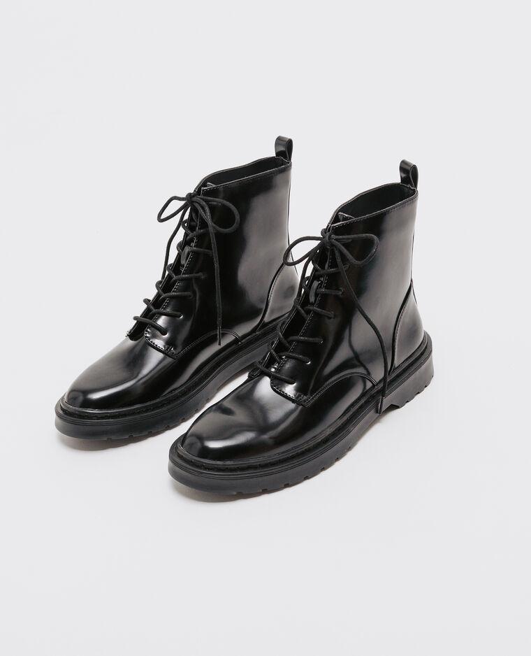 Boots rangers vernis noir noir
