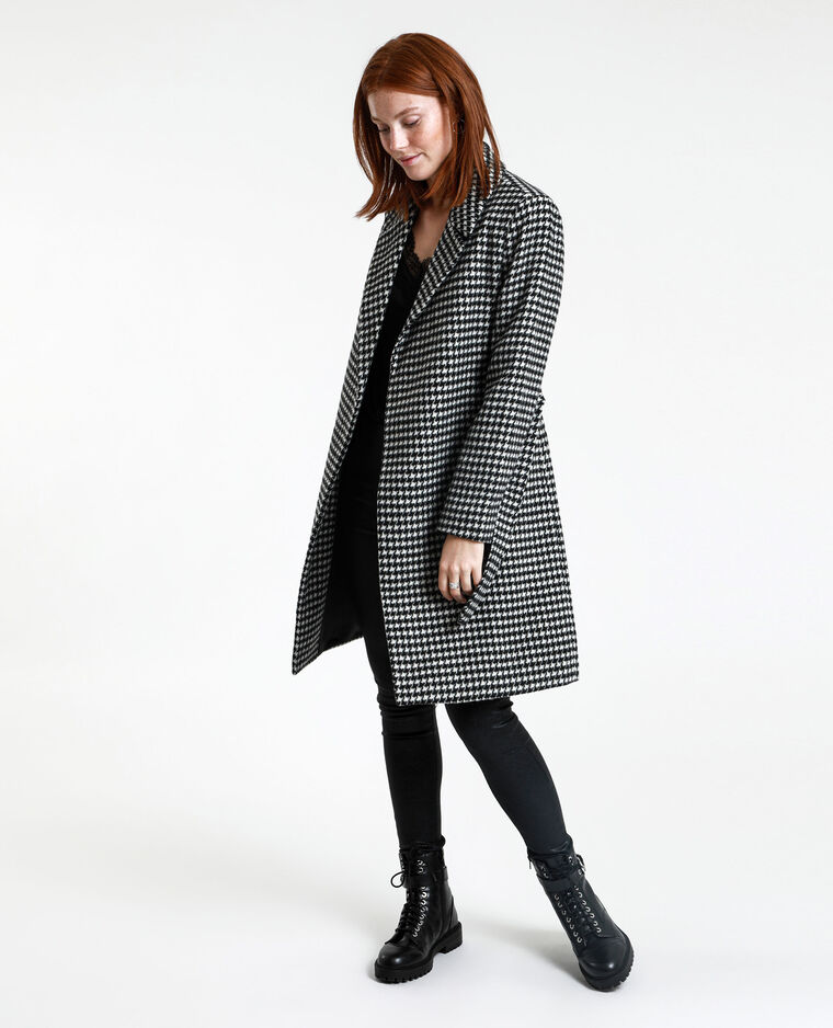 Manteau droit pied de poule noir