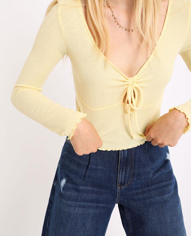 Top court à manches longues jaune