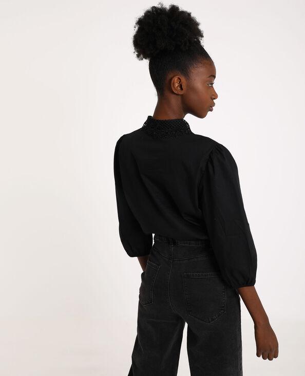 Chemise col brodé noir
