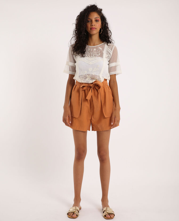 Short taille haute marron