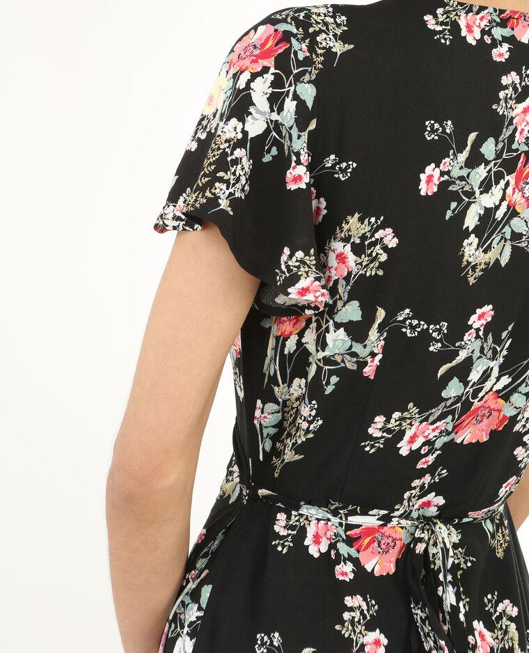 Longue robe imprimée portefeuille Noir