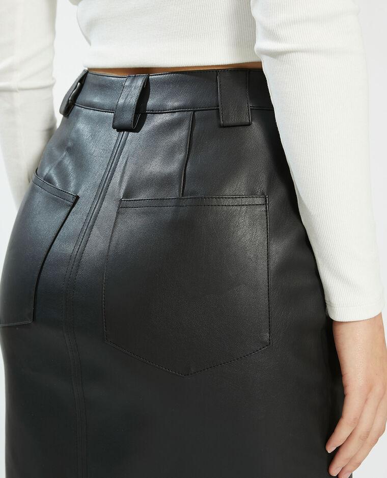 Jupe crayon en simili cuir noir - Pimkie