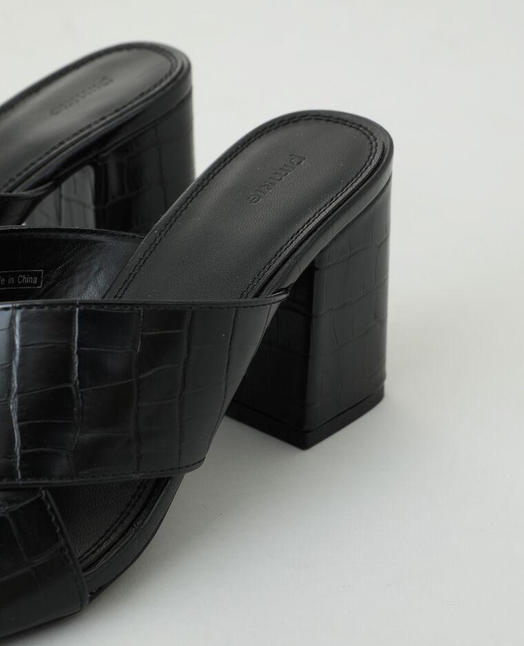 Mules à talons effet croco noir - Pimkie