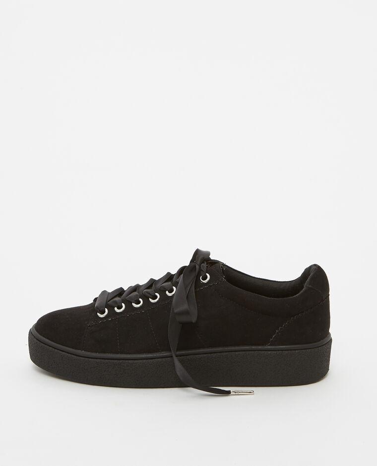 Baskets lacets satinés noir