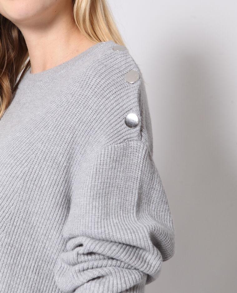 Pull boutonné gris chiné