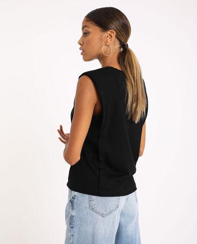 T-shirt à épaulettes noir