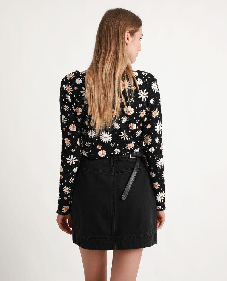 Top à fleurs noir