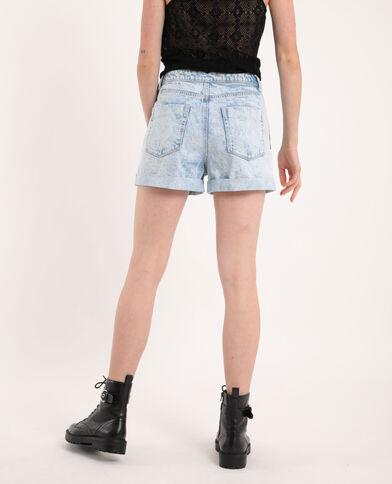 Short en jean effet délavé bleu clair