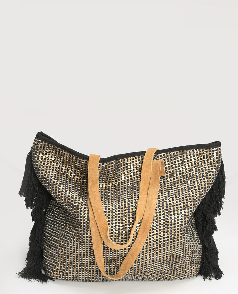Grand sac cabas sequins noir