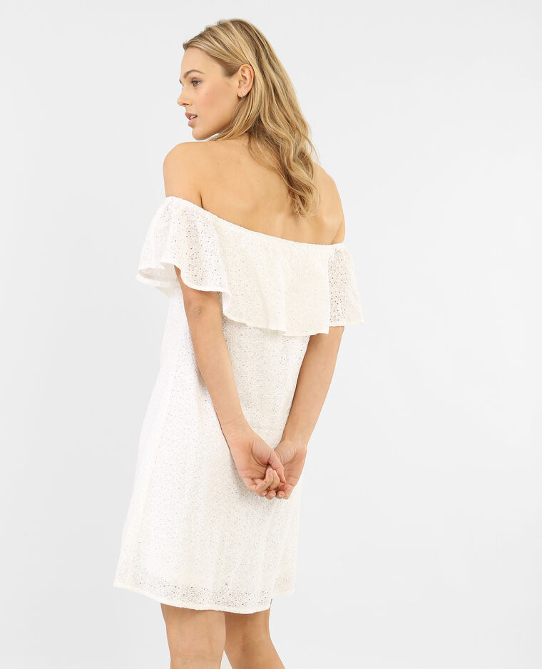 Robe dentelle col bardot blanc cassé - 780598912A09   Pimkie 7c97af90f877