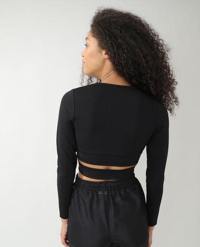 T-shirt cropped cache-cœur noir