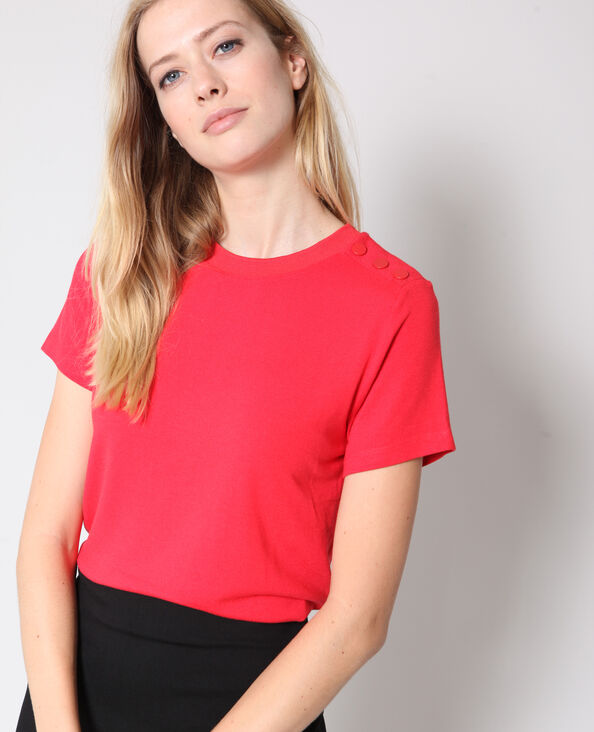 T-shirt à boutons rouge