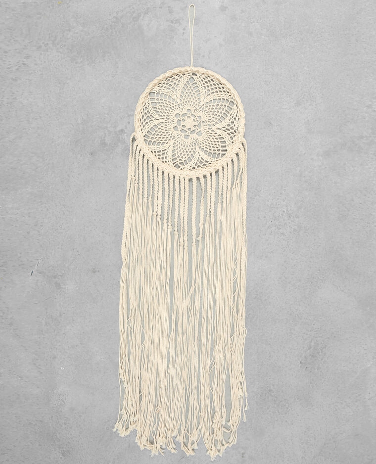 Grand attrape-rêves crochet blanc cassé