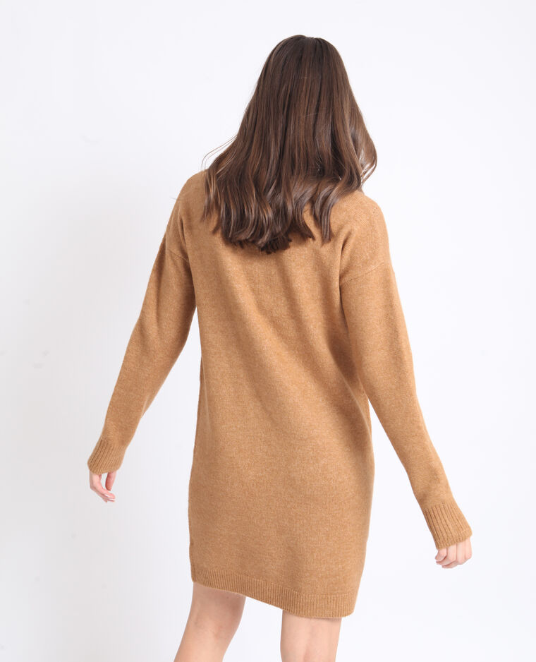Robe pull à col V marron