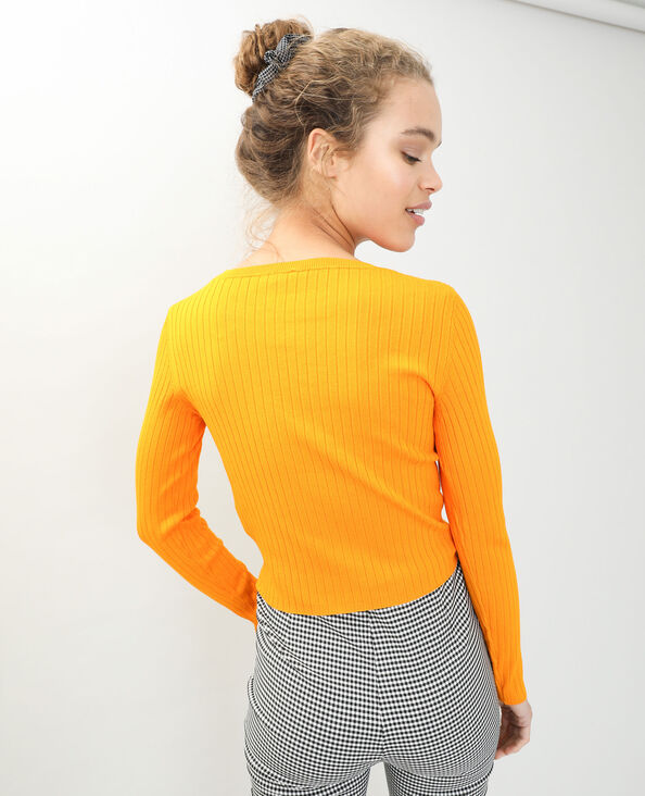 Pull court côtes plates orange - Pimkie