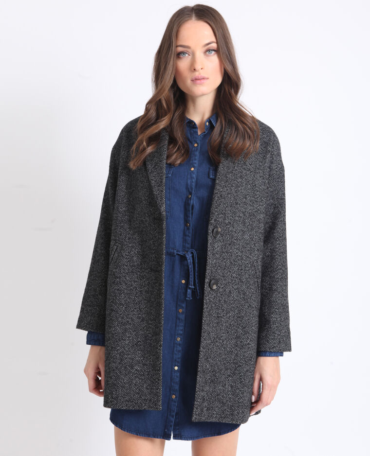 Manteau droit en laine gris