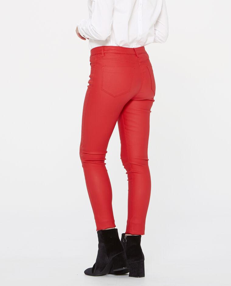 Skinny 7/8 enduit rouge