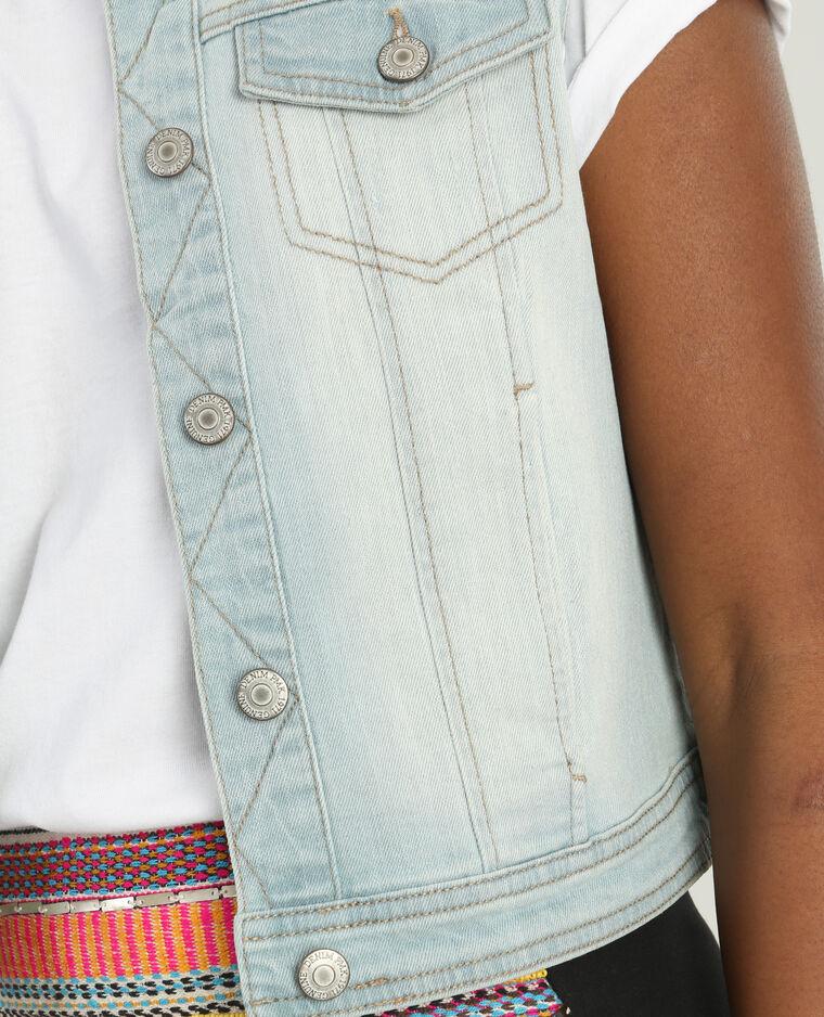 Veste en jean sans manches bleu clair