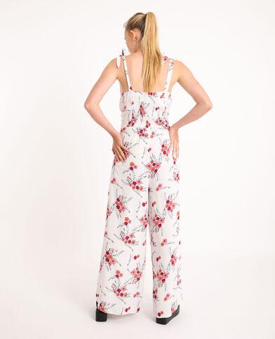 Combi-pantalon à fleurs écru