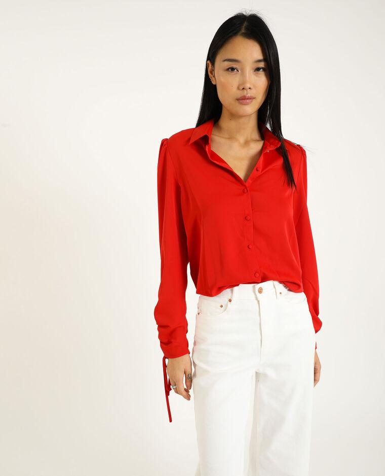 Chemise manches retroussables rouge