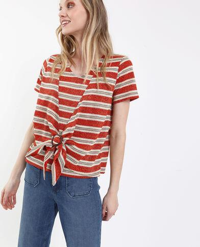 T-shirt noué blanc et rouge
