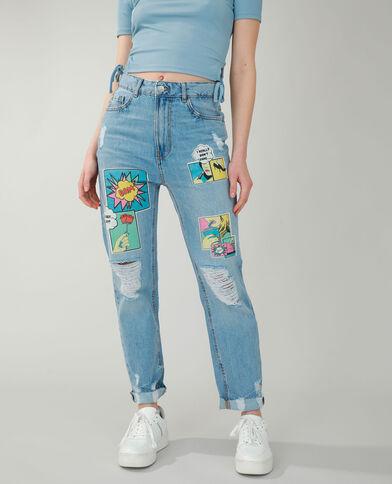 Jean straight high waist comics bleu denim - Pimkie