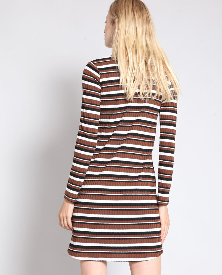 Robe pull rayée marron