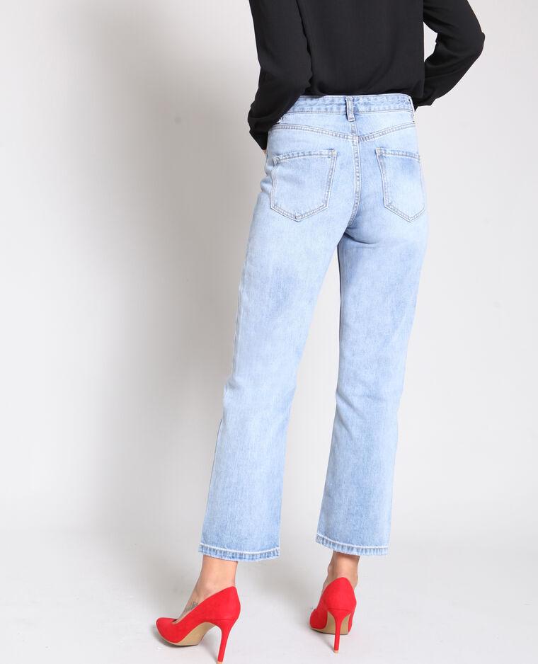 Jean droit taille haute bleu