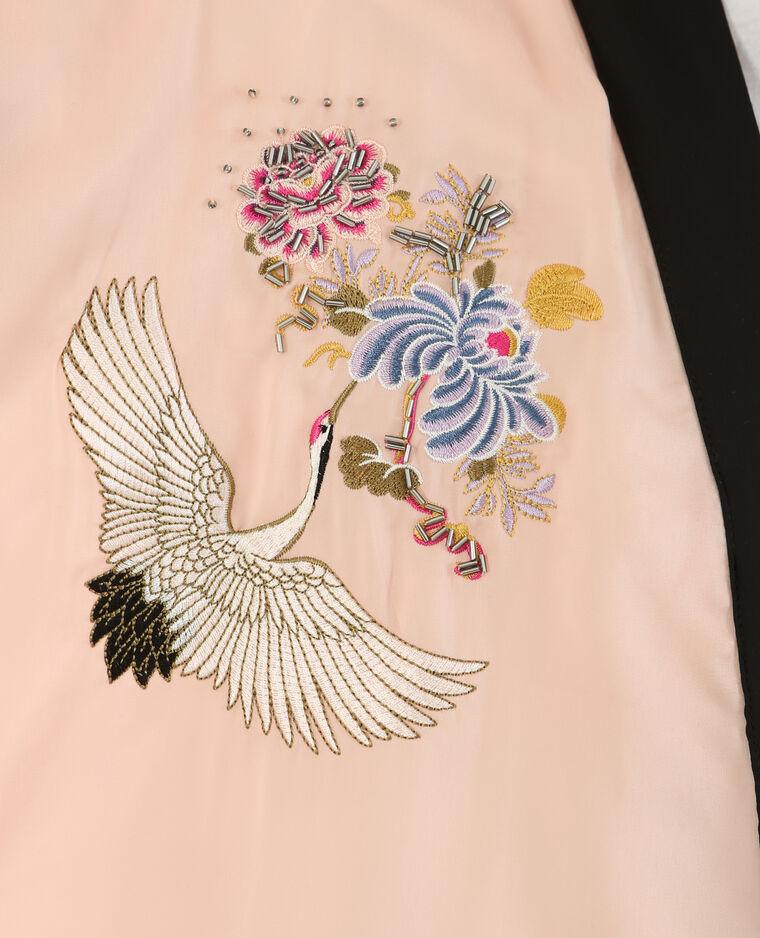 Long kimono satiné rose