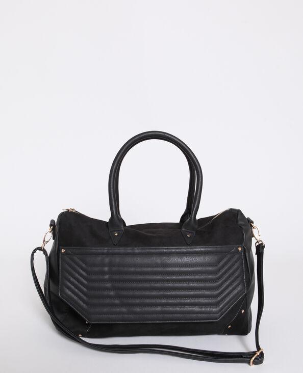 Grand sac en faux cuir noir