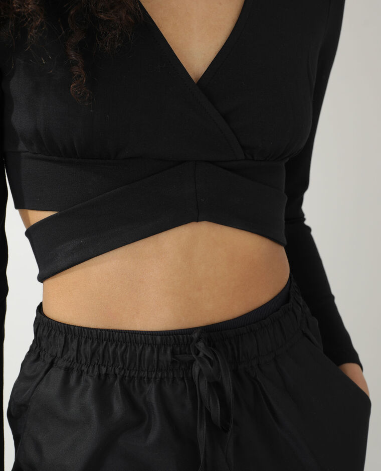 T-shirt cropped cache-cœur noir - Pimkie