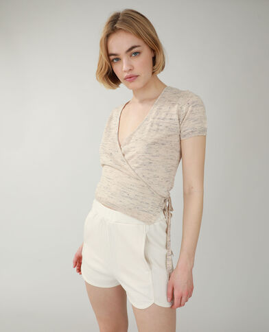 T-shirt cache-cœur beige - Pimkie
