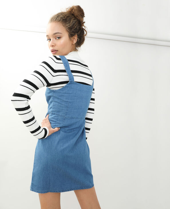 Robe salopette en jean bleu délavé