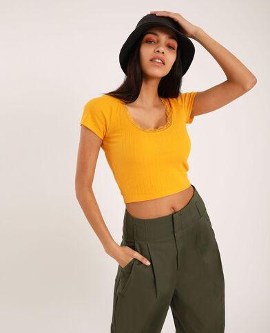 T-shirt cropped à dentelle jaune