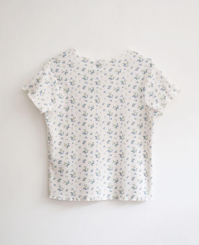 T-shirt imprimé fleuri blanc cassé