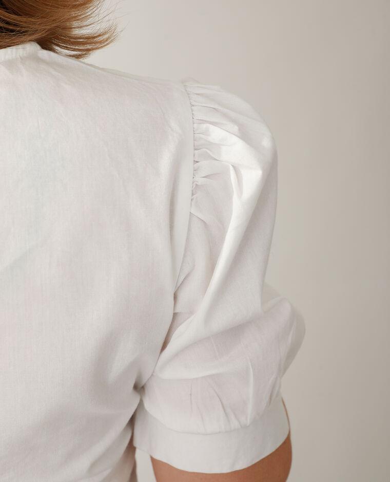 Blouse courte brodée blanc cassé - Pimkie