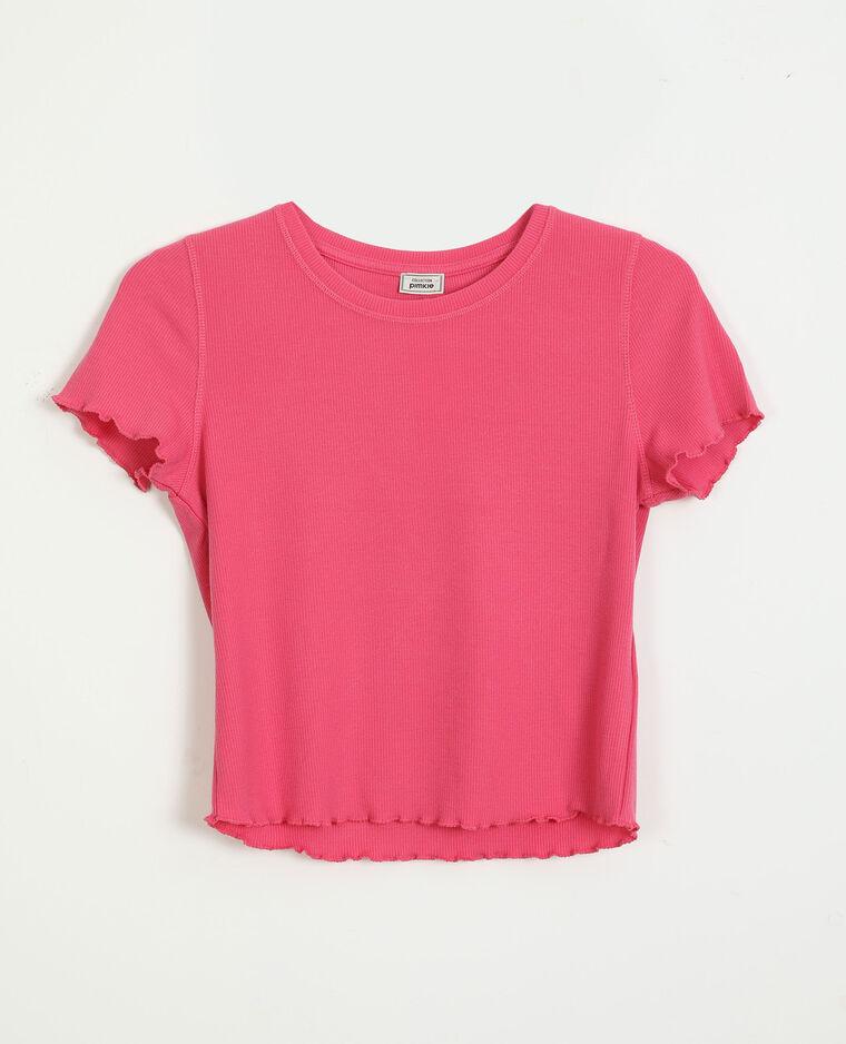 T-shirtcôtelé et volanté rose - Pimkie
