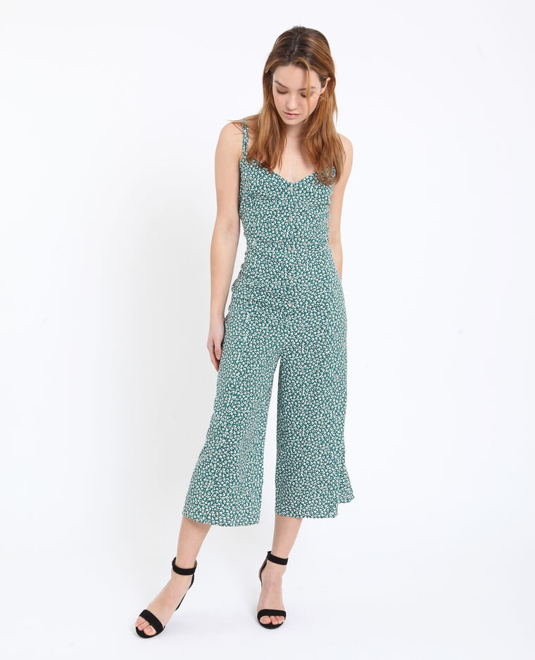 Combi-pantalon à fleurs blanc