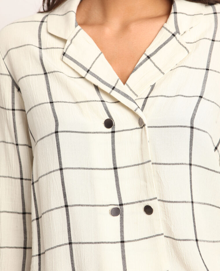 Chemise à carreaux blanc cassé
