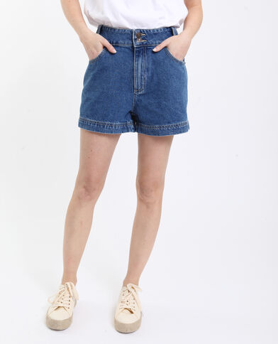 Short en jean high waist bleu brut