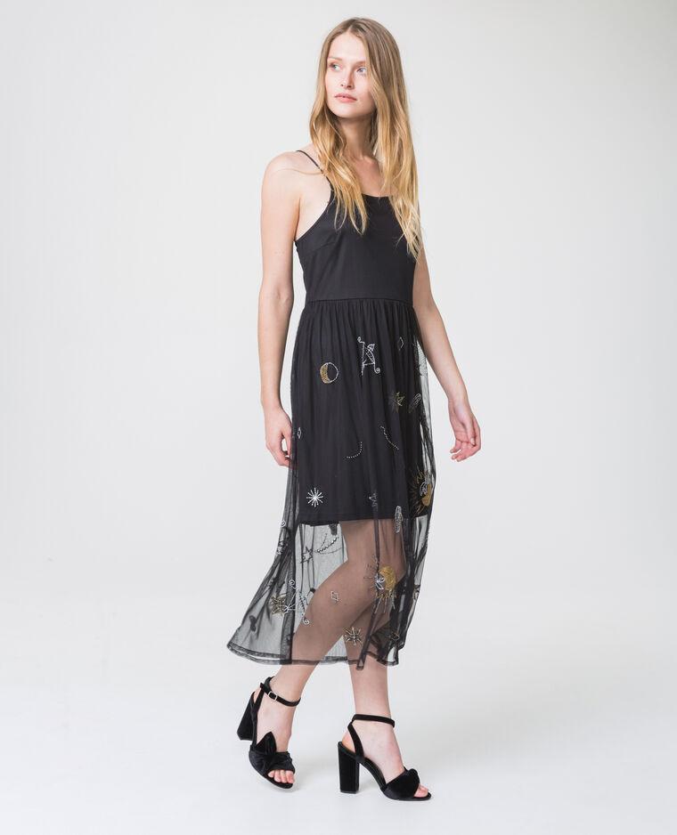 Robe imprimée en tulle noir - Pimkie