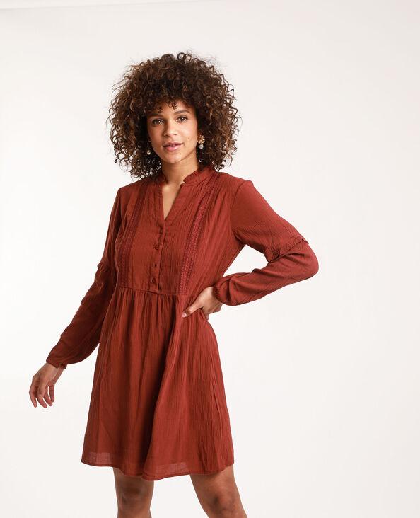 Robe chemise brodée terracotta