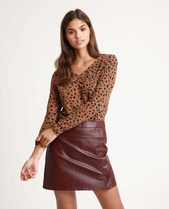 T-shirt imprimé léopard marron