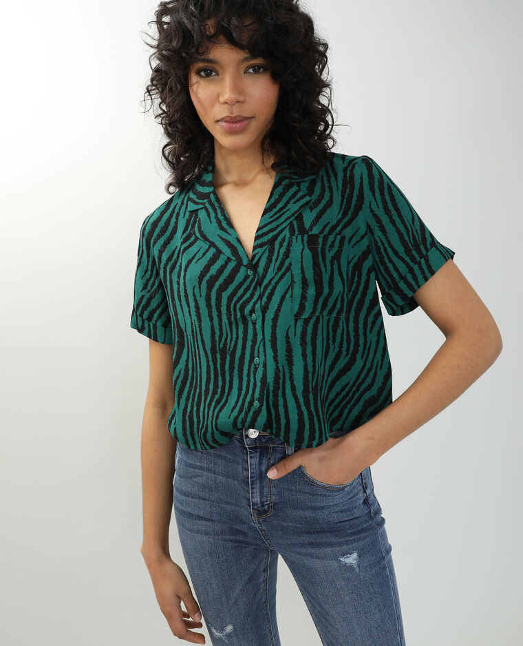 Chemise tigrée noir + vert - Pimkie