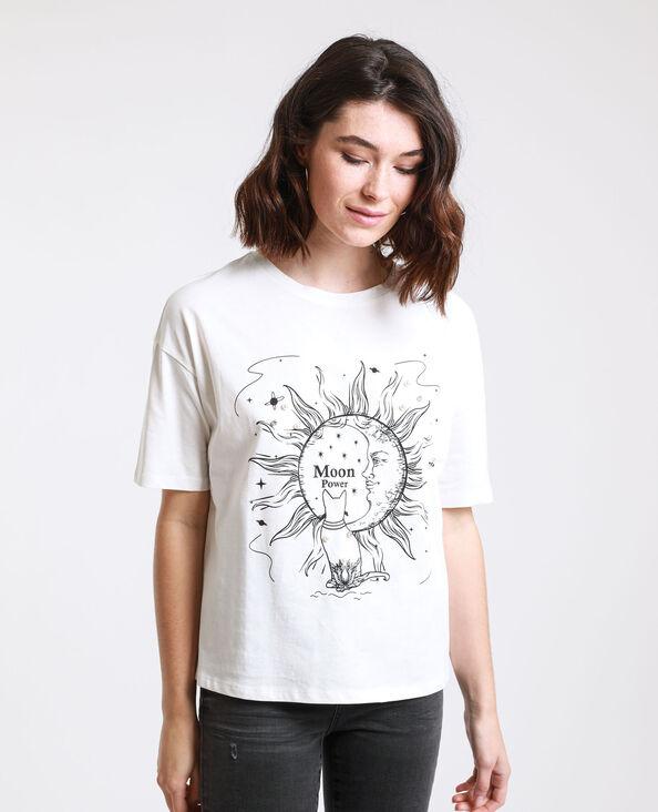 T-shirt imprimé blanc cassé