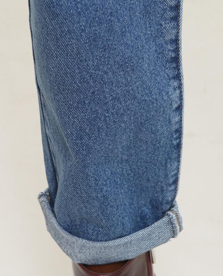 Jean mom brodé bleu denim