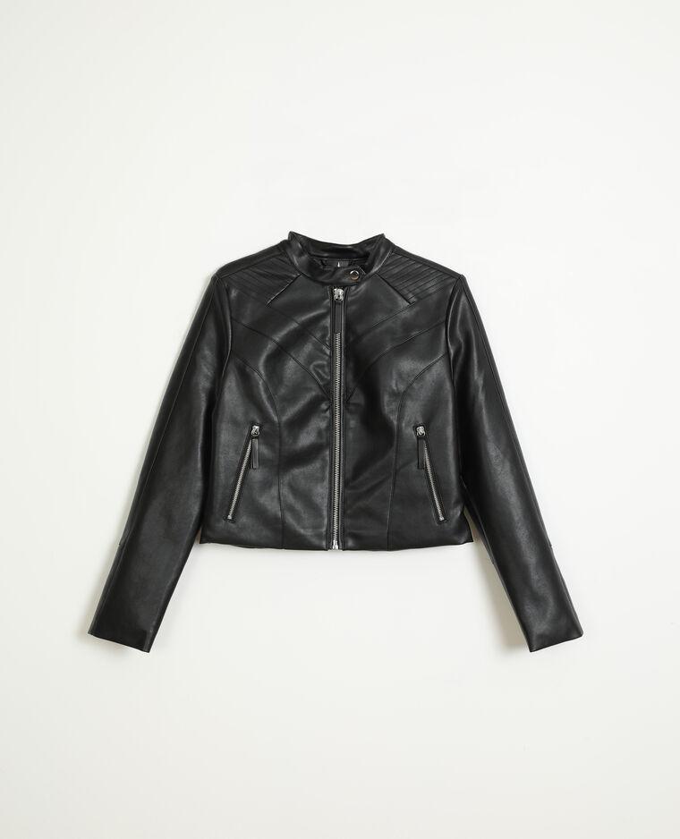 Veste biker simili cuir noir